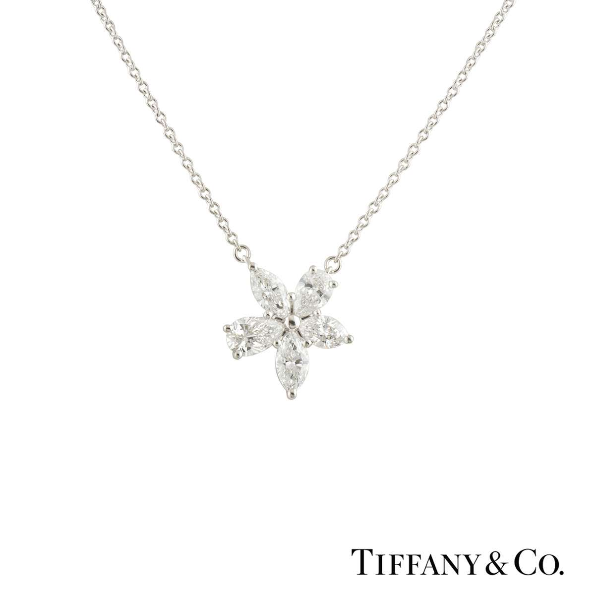 Tiffany & Co. Platinum Diamond Mixed Cluster Victoria Pendant